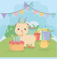 cute goat animal farm in birthday party scene vector image