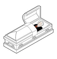 Deceased in coffin Dead man lay in wooden casket vector