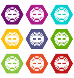 decoration button icons set 9 vector image