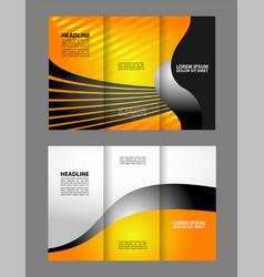 design folding brochures with blue polygonal backg vector image