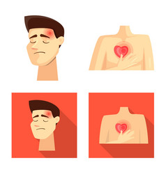 Design hospital and rendering icon set vector