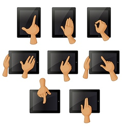 Different hand gestures when using a gadget vector image