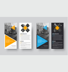 dl flyer template with orange and blue triangles vector image