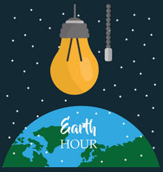 Earth hour light bulb world starry sky vector