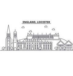 England leicester architecture line skyline vector