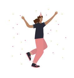 Festive party celebration jump girl vector