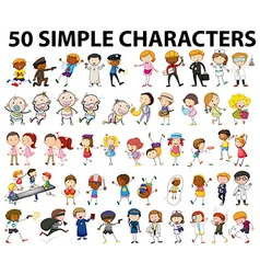 Fifty simple characters doing different things vector
