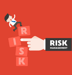 finger push the risk block with businessman stand vector image