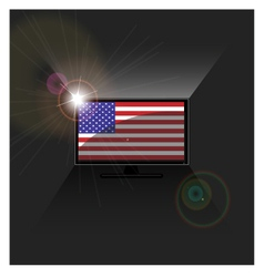 Flag American in TV vector