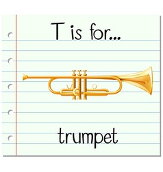 Flashcard letter T is for trumpet vector