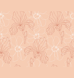 floral iris flowers seamless pattern vector image