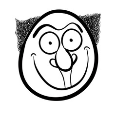 Foolish cartoon face black and white vector