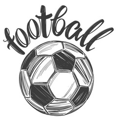 football soccer ball sports game calligraphic vector image
