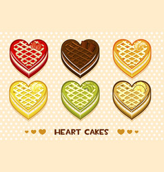 fruit and chocolate cakes in the form of heart vector image