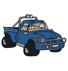 Funny blue small truck vector