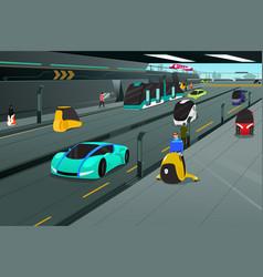 Futuristic city transportation vector