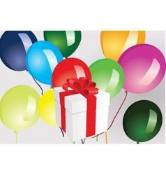 Gift box and ballooons vector image