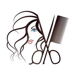 girl face and scissors with comb vector image