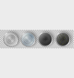 Glasses with clean and dirty water top view set vector