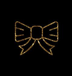 golden glitter gift ribbon line icon vector image