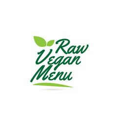 green leaf raw vegan menu hand written word text vector image
