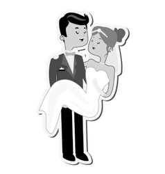 Groom carry bride icon vector