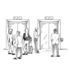 group people are waiting for elevator vector image