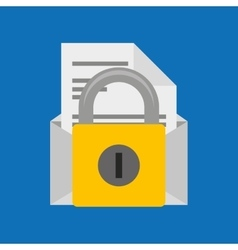 Hand hold protected concept padlock email envelope vector