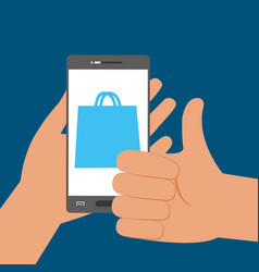 hand with smartphone technology to shopping online vector image