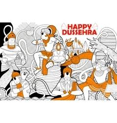 Hanuman doodle for Happy Dussehra Navratri vector image