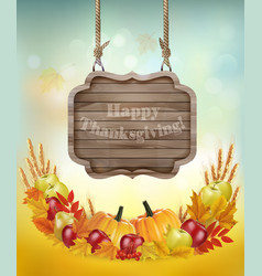 Happy Thanksgiving background with a wooden sign vector image