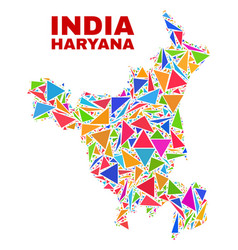 Haryana state map - mosaic of color triangles vector