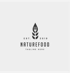healthy food nature simple flat logo design vector image