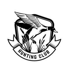 hunting club emblem template with wild duck vector image