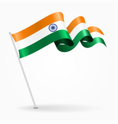 Indian pin wavy flag vector