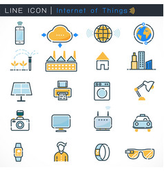 internet things icons set with bold line vector image
