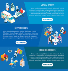 Isometric home service robots banner set vector