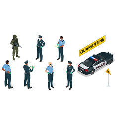 Isometric police officers in medical masks and vector