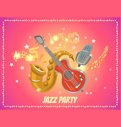 Jazz and blues music party or festival poster vector