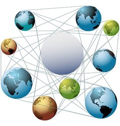 Join Earth world colors in global network vector