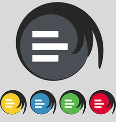 Left-aligned icon sign Symbol on five colored vector