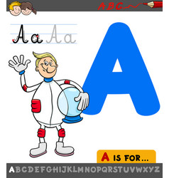 Letter a worksheet with cartoon astronaut vector