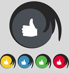 Like Thumb up icon sign Symbol on five colored vector