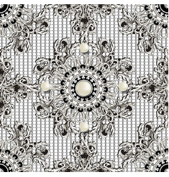 Luxury jewelry 3d baroque seamless pattern black vector