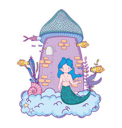 Male mermaid with castle undersea scene vector