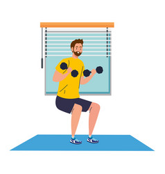 Man doing squats with dumbbells in house vector