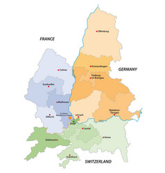 Map european economic region regiotrirhena vector