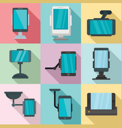Mobile phone holder icons set flat style vector