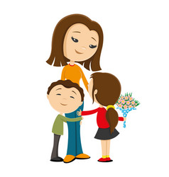 Mother and children with flowers vector