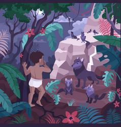mowgli in jungle composition vector image